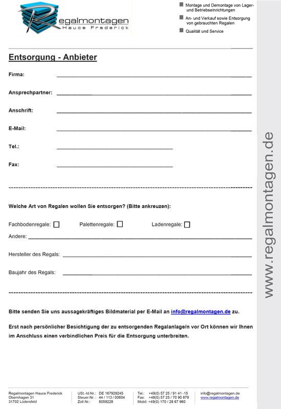 Formular: Regalmontagen Entsorgung